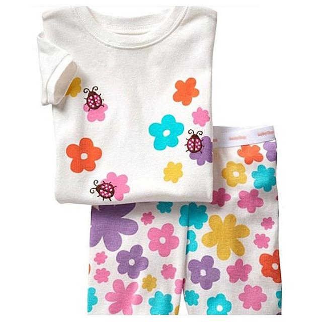Лето дети девочки одежда короткий рукав одежда комплект хлопок божья коровка цветок пижамы костюм дети комикс пижама CF221