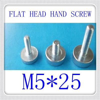 100pcs/lot High Quality GB835 M5*25 Round Flat Head Knurled Hand Tighten Screw<br><br>Aliexpress