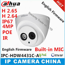 Dahua H2.65 IPC-HDW4431C-A Built-in MIC  HD 4MP IR 30m  network  IP Camera security cctv Dome Camera Support POE HDW4431C-A(China (Mainland))