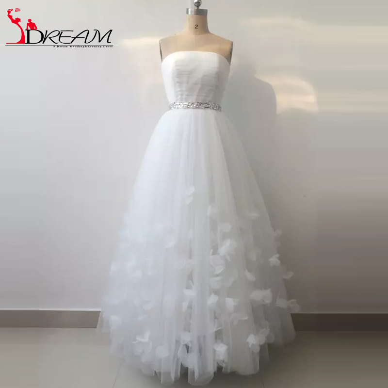 Real image 2016 short white wedding bridal dresses for Wedding dresses boston cheap