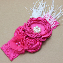 200pcs/lot Boho Style Pink Layered Poppy Flowers on Wide Lace Headband