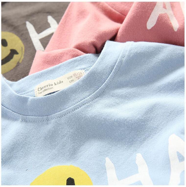BBK Korea Long Sleeve T shirt boy Lovely Smile letter Pattern Cotton t-shirt girl 2016 Fashion leisure long sleeve blouse kids