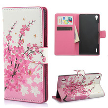 Stylish Pink Plum Magnetic Leather Case Cover Card Slots & Stand huawei Ascend p7 Freeshipping - CN-Number one Trading Company store