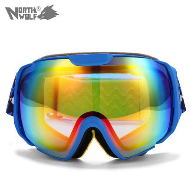 2015 Новый Лыжные Очки Двойной Линзы UV400 Противотуманные Большие Сферические Профессиональные Лыжные Очки Унисекс Многоцветная Очки Сноуборд