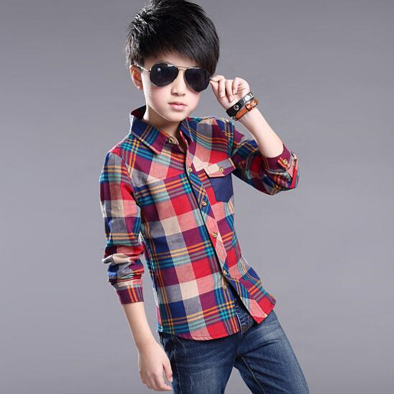 Age 4-14Y 2016 New Arrival Autumn Kids Long Sleeve Plaid Baby Boys Clothes Shirt Casual Turn-down Collar Shirts Tops JW0177(China (Mainland))