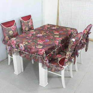 Red peony senior fabric chair covers table cloth dining set cover stool twinset - ronghua liu's store