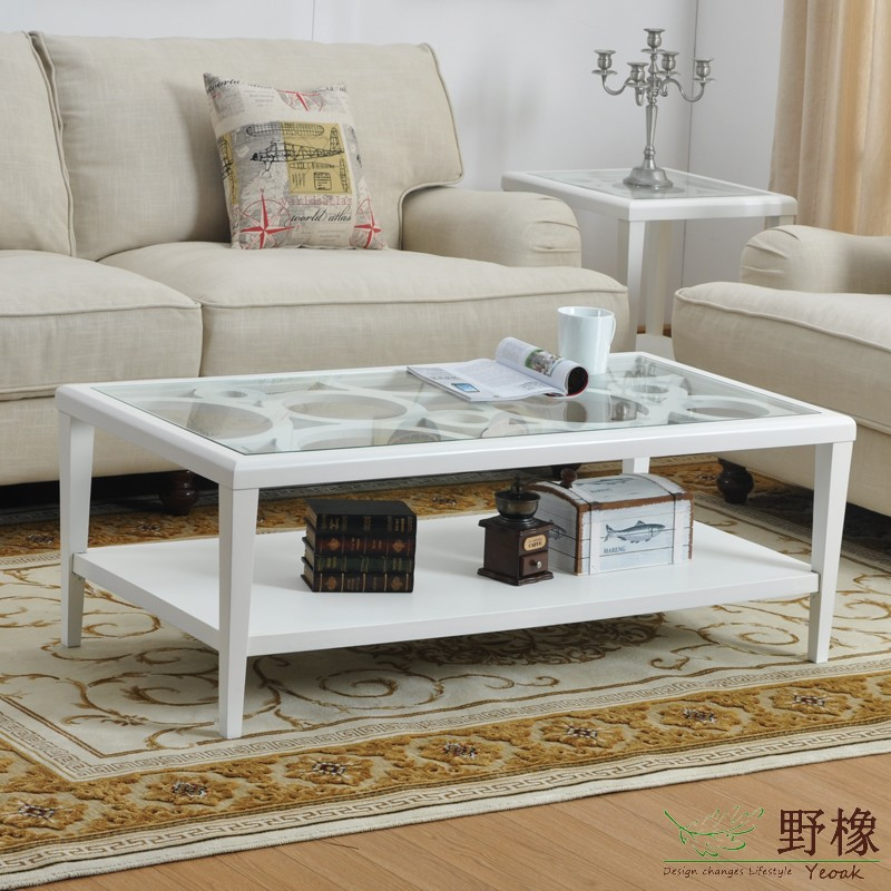 Wild rubber CT6104 American rural countryside of solid wood living room tea table glass coffee table stylish simplicity special(China (Mainland))