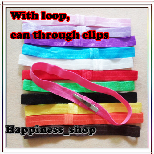 Wholesale Hi Quality Infant 600pcs/lot 20Colors elastic hair Children accessory headband With Loop Baby Girls Hair accessory