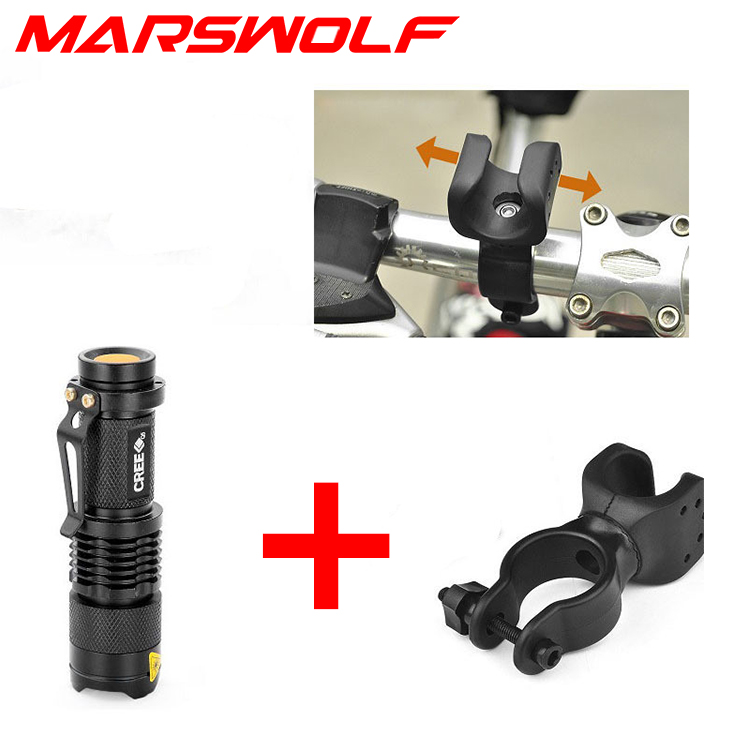 2000LM Cree XML Q5 Led Adjustable tactical MINI flashlight 1*14500 1*AA 3 modes zoomable Bicycle light portable torch - Marswolf store