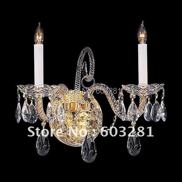 ATN9002/2W-GD,2 Light Traditional Crystal Wall Sconce,golden +  -  AUTUMN LIGHTING FACTORY store