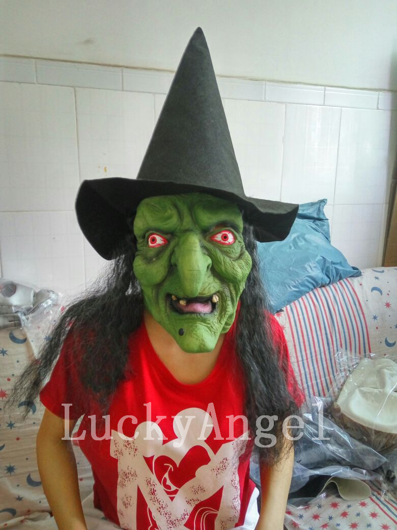 Hot Scary Latex Witch Mask with Black Hair GreenTerrible Full Head Clown Mask Big Nose Halloween Mask Cospaly Horror Ghost Masks