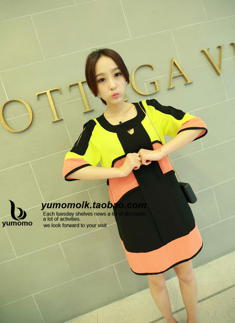 Momo strapless pocket color block chiffon shirt x3214 decoration