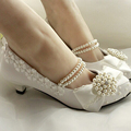 New Fashion Style Handmade Lace Pearl Princess Shoes Low Heel Bowtie Amond Toe Shoes Evening Party