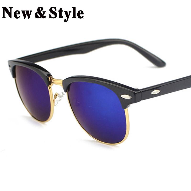 Fashion Wayfarer Half Metal Sunglasses Men Women Brand Designer Glasses Coating Mirror Sun Glass Oculos De Sol Eyewear(China (Mainland))