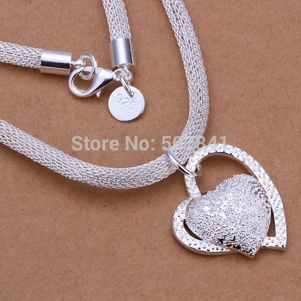 new arrive free shipping silver Plated necklace jewelry silver jewelry fashion cute Heart pendant necklace TOPquality