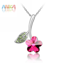 Wholesale Fashion Necklace/Made With Swarovski Elements Jewelry/Flower and Leaves Crystal Pendant Necklace/Free Shipping#79638