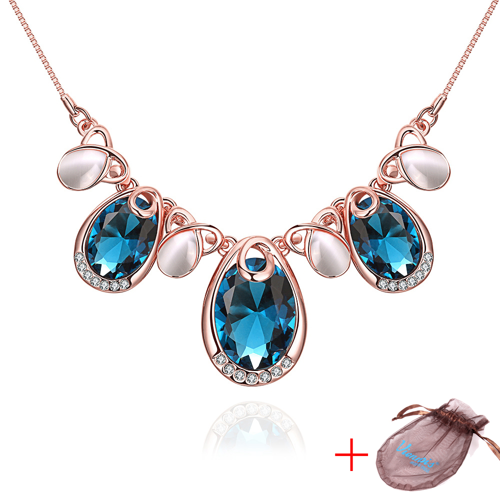 18K Rose Gold Plated Cubic Zirconia Opal Necklaces with Pouch for Women 17+2 Chain Crystal Blue Stone Pendant Necklace N15<br><br>Aliexpress