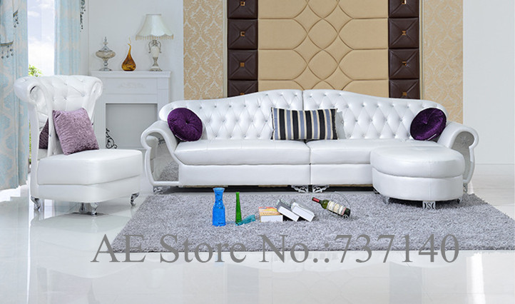 Sofa Set Living Room Furniture Modern French Style Leather Sofa White Sofa Fu
