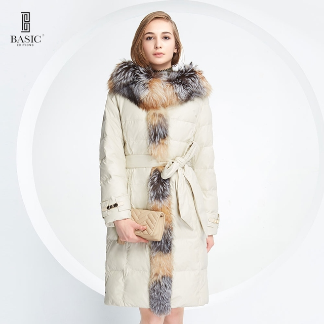 BABASIC-EDITIONS 2015 Luxurious Down Parka With Frontal Fox Fur Plus White Duck Down Winter Coat Women Jacket 14W-07