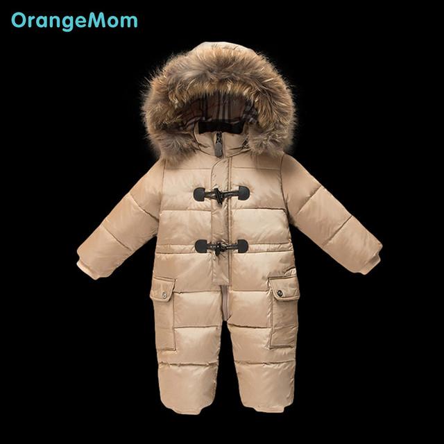 Россия зима! 2016 Новый бренд зимние пальто детские snowsuit вниз комбинезон Зимние комбинезоны, тепловые куртки, детские мальчики девочки одежда