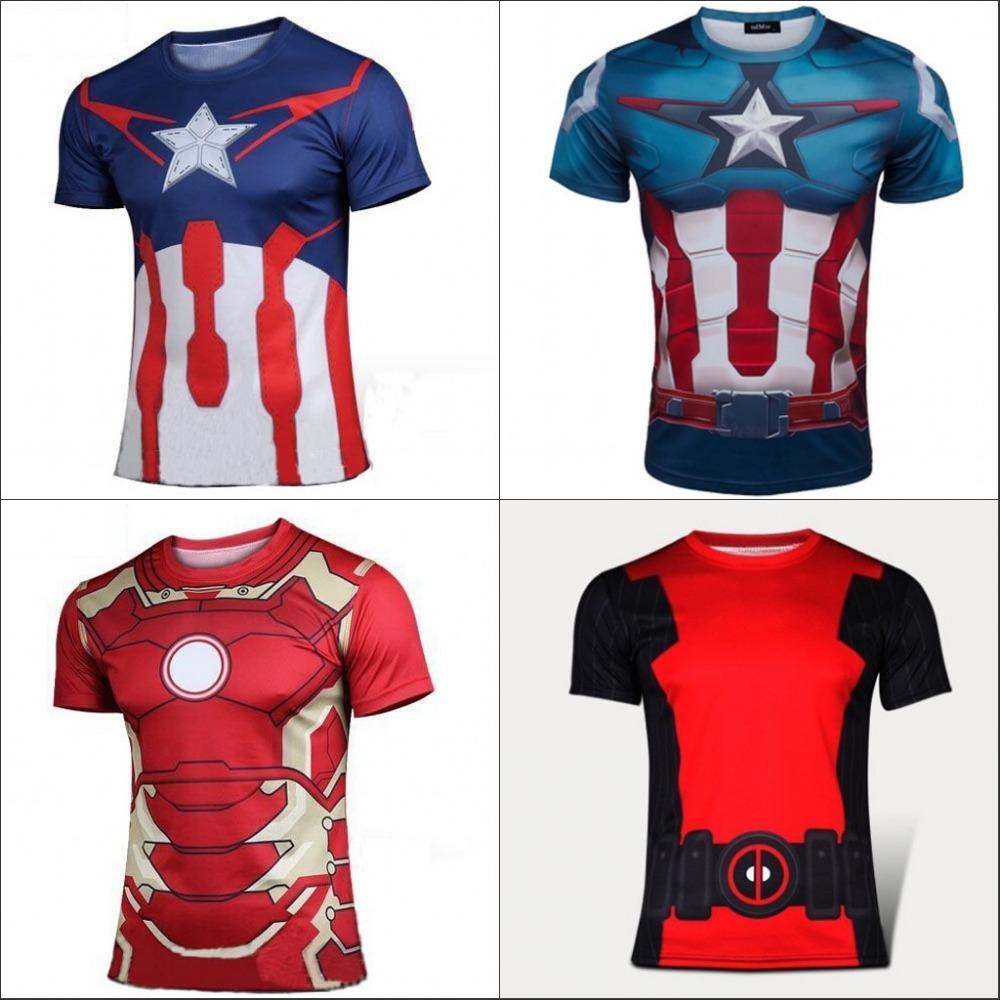 Autumn Winter Superhero Superman/Batman/Spiderman Men Short Sleeve T Shirt Compression Tights Tops Fitness Running Sport T-shirt(China (Mainland))