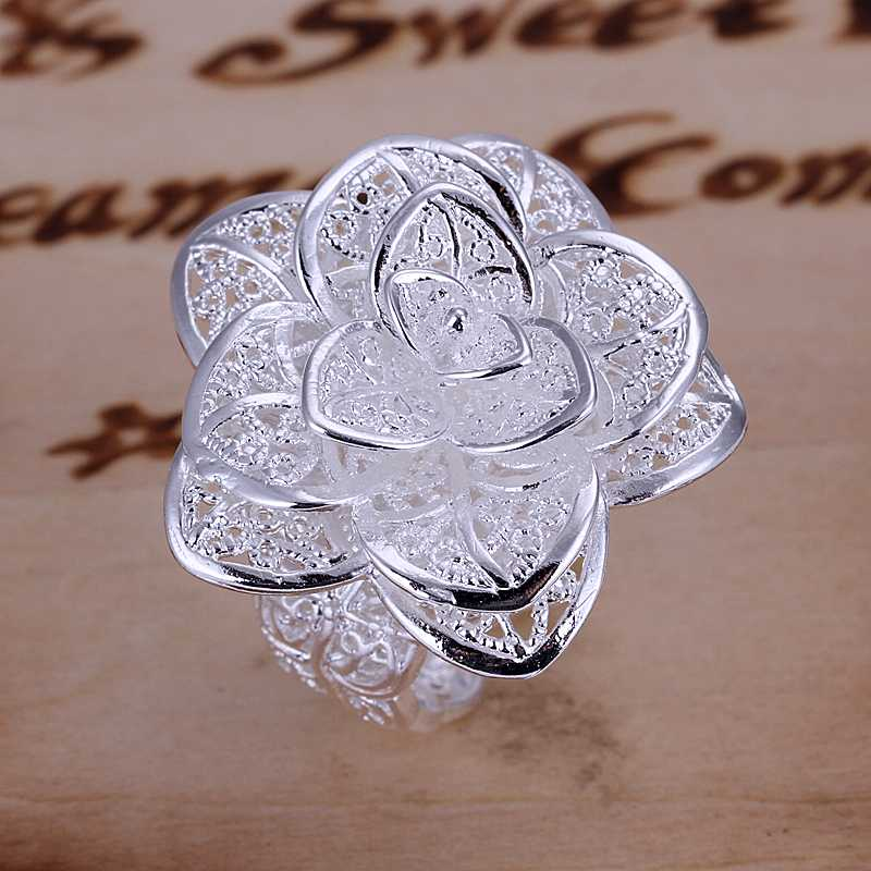 Free shipping 925 sterling silver jewelry ring fine nice flower ring top quality wholesale and retai