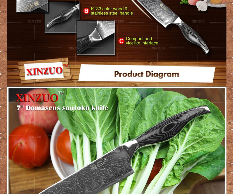 Buy HOT SALE 7 inch chef knife Japanese VG10 Damascus steel kitchen knife santoku knife wholesale forged wooden handle FREE SHIPPING cheap
