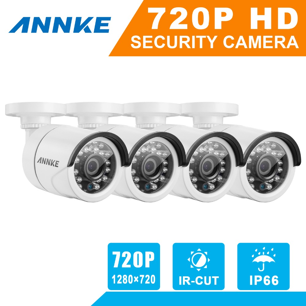 SANNCE NEW 720P 1.0MP High resolution CCTV Security Cameras 4pcs Surveillance cameras with CCTV cables for sales(China (Mainland))