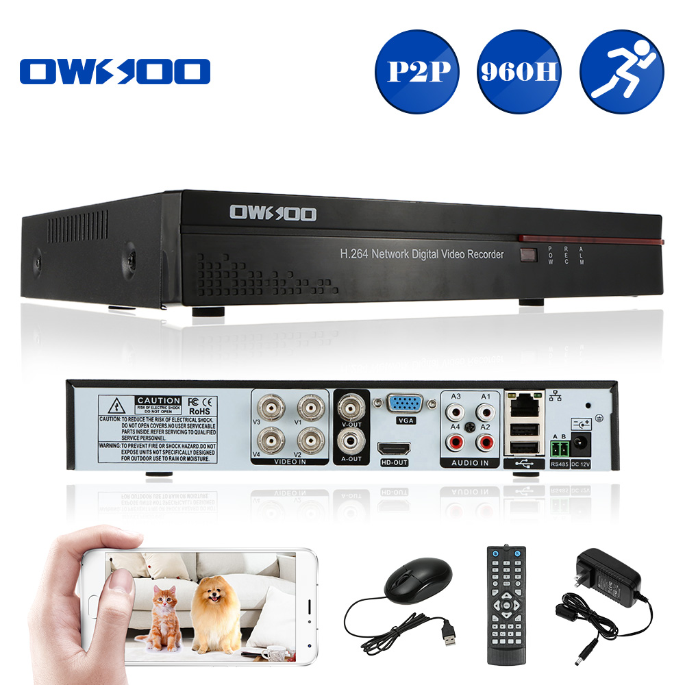OWSOO 4CH 960H DVR CCTV D1 P2P H.264 Security 4CH Mini DVR Video Recorder HD/VGA/BNC Output Email Alarm for Home Security Camera(China (Mainland))