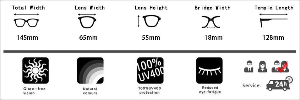 2 oculos de sol feminino size Parameters