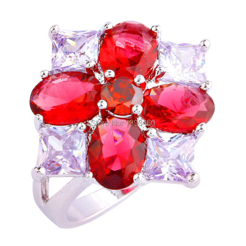 Attractive Saucy Oval Cut Ruby Spinel Silver Ring Size 8 New Design Fashion Jewelry 2016 Gift Women - WEILING Co.,Ltd 2014 store