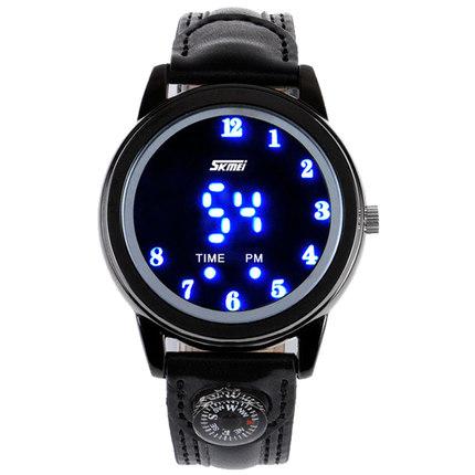SKMEI Fashion leather strap LED quartz watches han edition waterproof watch creative gift men women round wrist - The global digital tesco store