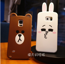 Luxury 3d cute cartoon bear & rabbit ultra thin protective cover case samsung galaxy S3 S4 S5 S6 edge S7 note 3 4 5 A5 A7 A8 - Electronic Station store