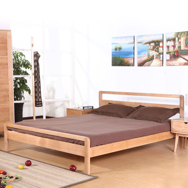 moderne minimalistische muji japanse stijl houten bed massief houten bed 1 8 m wit eiken. Black Bedroom Furniture Sets. Home Design Ideas