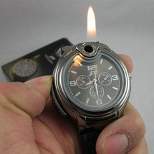 Nuevo 2015 militar reloj encendedor novedad hombre cuarzo se divierte de cigarrillos butano recargables Gas cigarros hombres relojes de marca de lujo