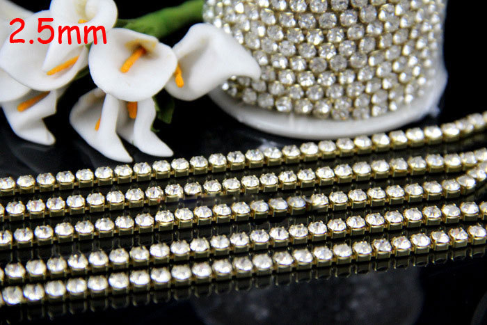 ss8 2.5mm 1meter 34Crystal Close Rhinestone Cup Chain gold Metal Claw Trimming DIY Garment Accessories - MEIBEADS-Diy Jewelry Making Supplies Store store