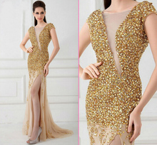 Fashion Brand Cap Sleeve Scoop Transparent Organza Young Ladies Backless Beaded Gold Evening Dress New Arrival(China (Mainland))