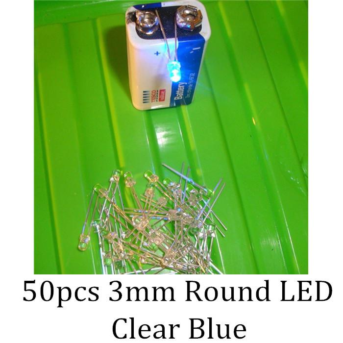 50PCS DIP Superbright 3mm Round White Blue Bulb Light LED(China (Mainland))