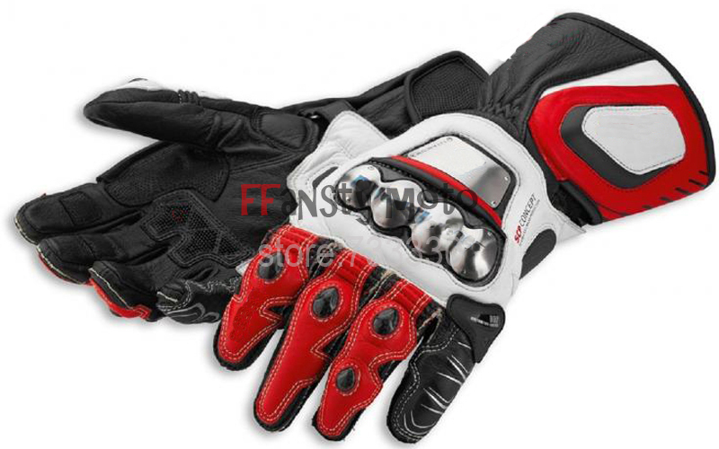 Hot Sale Corse 14 Full Metal Genuine Titanium Leather Motorcycle Gloves/ Motocross Racing Protective GLoves size M L XL<br><br>Aliexpress