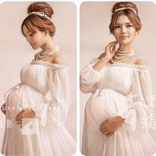 new white lace Maternity dress Photography Props Long lace dress pregnant women Elegant Fancy Photo Shoot Studio Clothing