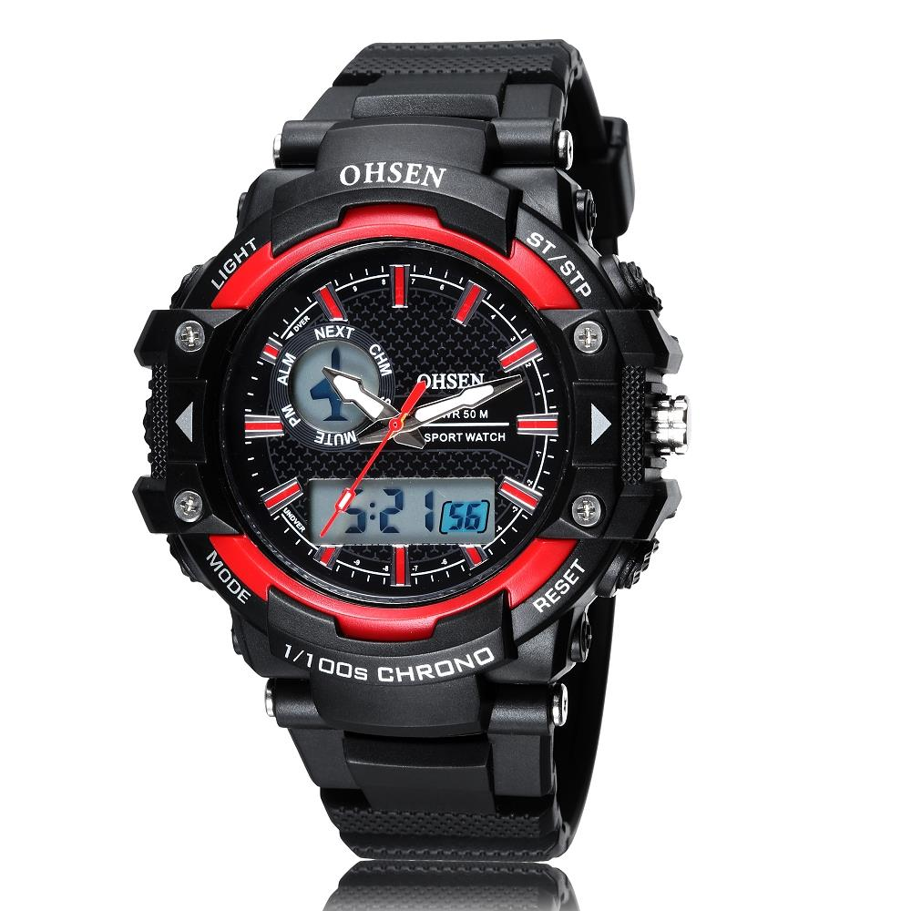 OHSEN Men Sports Watch Plastic Band LED Digital Quartz Wristwatches Military Water Proof Clocks Watches Relogio Masculino AS09 - Guangzhou Xiou watch store