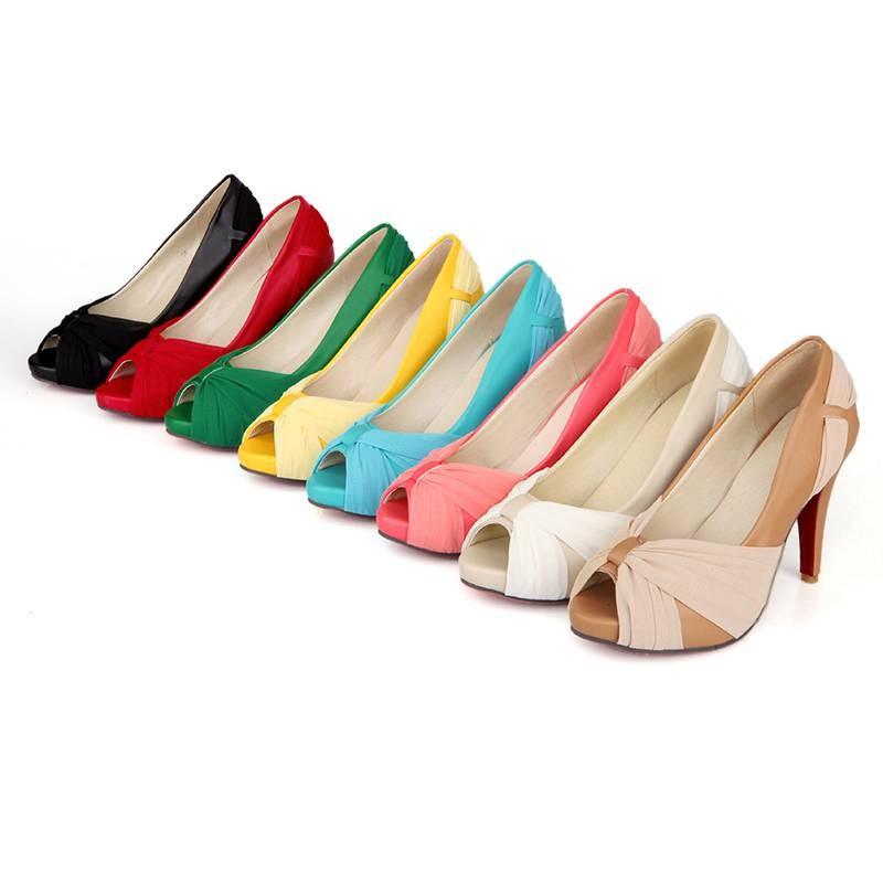 ซื้อ พลัสSize35-43 2016ใหม่ผู้หญิงปั๊มรองเท้าสูงP Eepปั๊มแต่งงานที่มีชื่อเสียงในฤดูใบไม้ผลิเดียวแพลตฟอร์มส้นรองเท้าแตะPS560