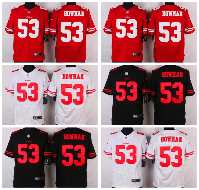 San Francisco 49ers #53 NaVorro Bowman Elite White Black and Red Team Color free shipping(China (Mainland))
