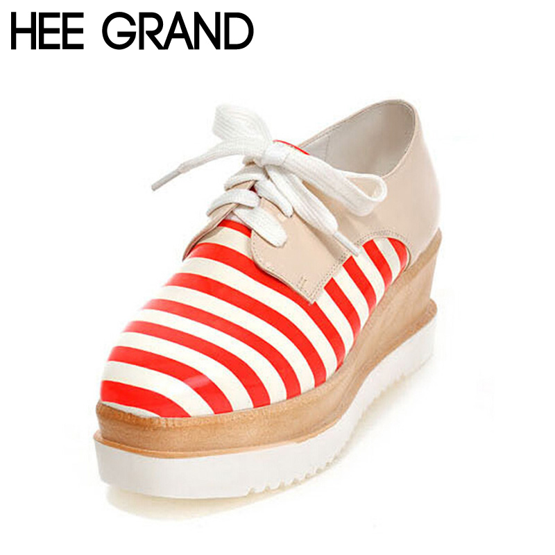 British Style Platform with Flats Striped Lace up Spring Artificial Leather Patchwork Casual Thick Botton Shoes XWC579