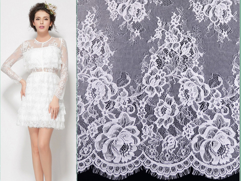 Wholesale price off white 150 cm nylon beautiful rose for French lace fabric for wedding dresses
