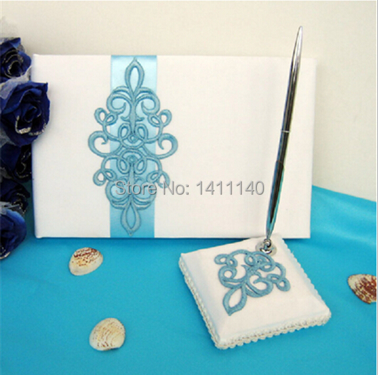 Teal Scroll Wedding Guest Book And Pen Set In White Satin Blue Flower decor wedding accessory wedding supplies(China (Mainland))