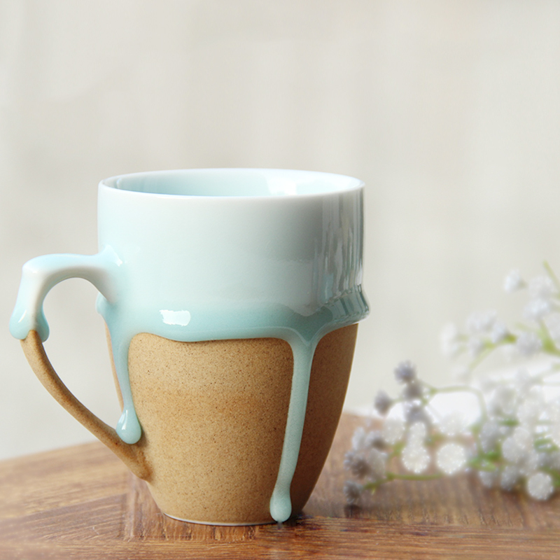 Vintage design creative ceramic coffee tea mug flow glaze Creative mug designs