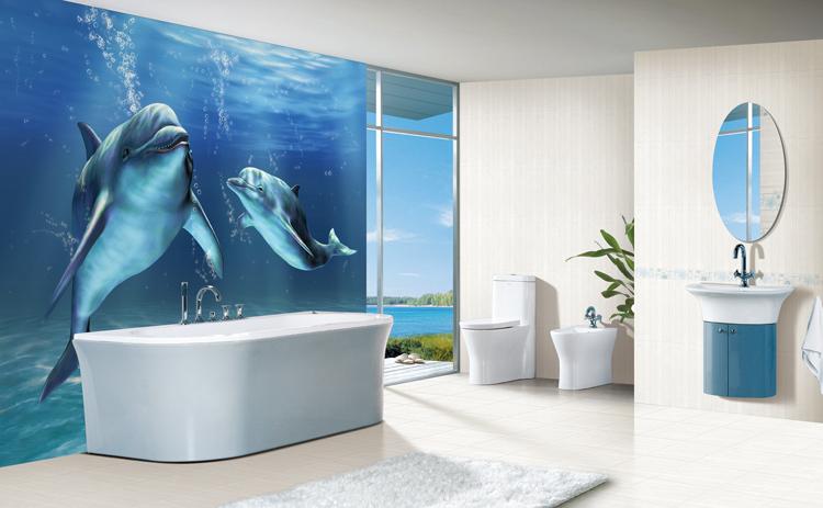 Плитка для ванной комнаты дизайн с дельфинами
