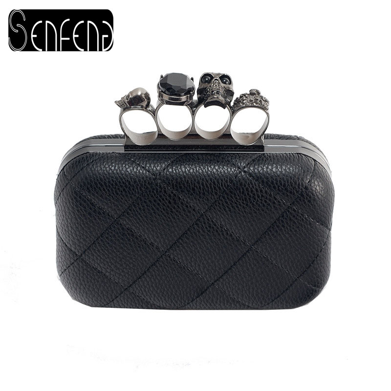 SENFENG Hot Sale Ladies Clutch Bag Fashion Designer Chain Shoulder Bags Women Retro Skull Ring Dinner Party Bag(China (Mainland))