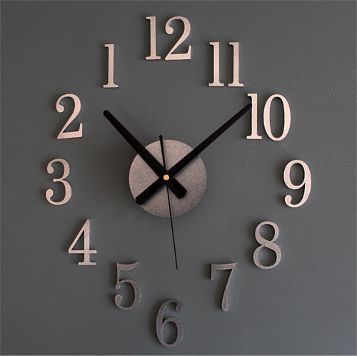 QIYUE back metal texture true 3D stereo DIY clock wall clock digital clock sticker DIY reverse fashion acrylic free shipping(China (Mainland))